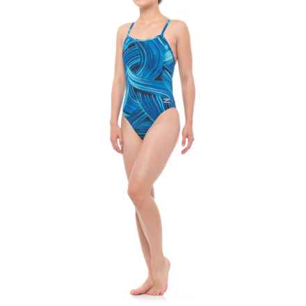 Speedo Turbo Stroke Fly ADT One-Piece Bathing Suit (For Women) in Blue - Closeouts