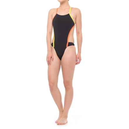 Speedo Vee 2 Color-Block One-Piece Swimsuit (For Women) in Black - Closeouts