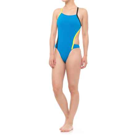 Speedo Vee 2 Color-Block One-Piece Swimsuit (For Women) in Blue - Closeouts