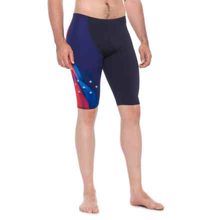 Speedo Wrap Jammer Swimsuit (For Men) in Navy/Red/White - Closeouts