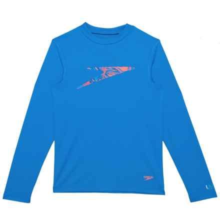 Speedo Zip Zing Logo Swim T-Shirt - UPF 50, Long Sleeve (For Big Boys) in Blue - Closeouts