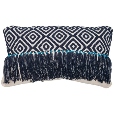 "Spencer Embroidered Fringe Throw Pillow -14x24"" in Monk Blue"