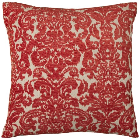 """Spencer Ikat Wallpaper Throw Pillow - 22x22"""", Feathers in Orange"""