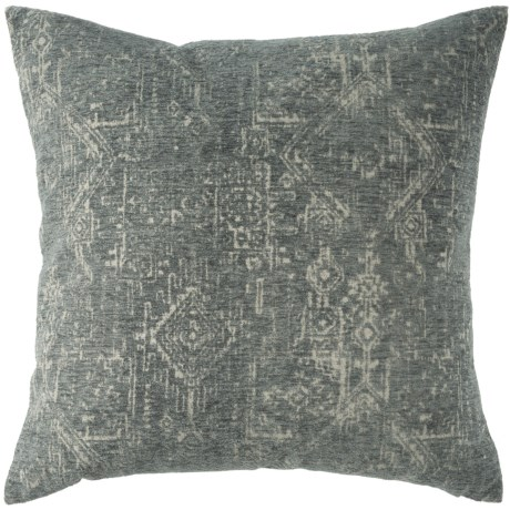 "Spencer Mares Oversized Vintage-Look Throw Pillow - 24x24"", Feathers in Grey"