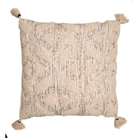 """Spencer Oversized Angie Natural Textured Throw Pillow - 24x24"""" in Natural - Closeouts"""