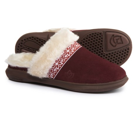Spenco Nordic Slide Slippers - Suede (For Women) in Bordo