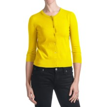 Spense Knits Crew Neck Cardigan Sweater - Button Front, Long Sleeve (For Women) in Clear Yellow - Closeouts
