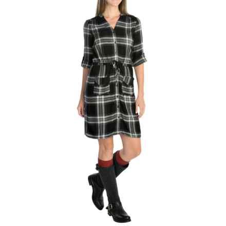 Spense Knits Mandarin Collar Shirt Dress - 3/4 Sleeve (For Women) in Black/White Plaid - Overstock