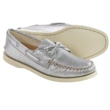 Sperry A/O Metallic Boat Shoes - Leather (For Women) in Silver - Closeouts