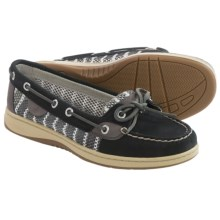 Sperry Angelfish Breton Mesh Boat Shoes - Nubuck (For Women) in Black - Closeouts