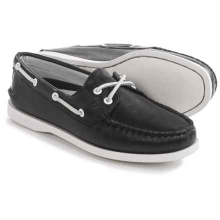 Sperry Authentic Original Leather Boat Shoes - Moc Toe (For Women) in Black Leather - Closeouts
