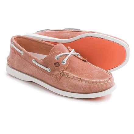 Sperry Authentic Original White Cap Boat Shoes - Leather (For Women) in Coral - Closeouts