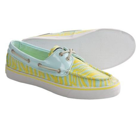 Sperry Bahama Boat Shoes (For Women) in Aqua/Pucker Zebra Sequins