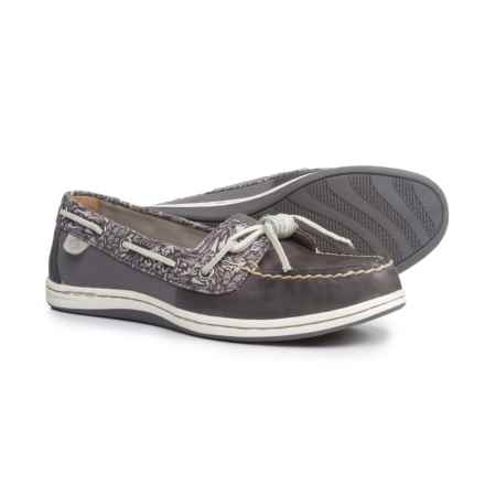 Sperry Barrelfish Boat Shoes - Leather (For Women) in Grey - Closeouts