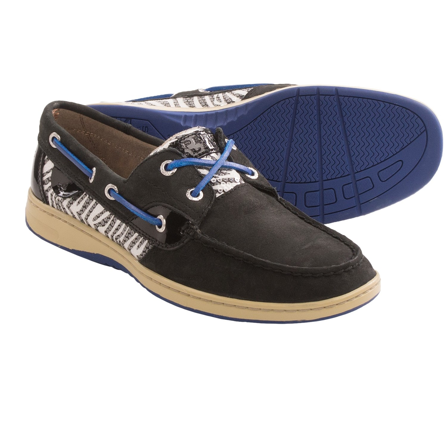 Womens Sperry Top-Sider Angelfish Boat Shoe, Black Gold, at