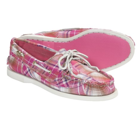 Sperry Cloud Logo Authentic Original 2-Eye Boat Shoes (For Women) in Pink Patchwork Madras