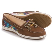Sperry Firefish Moc-Toe Boat Shoes - Leather and Canvas (For Women) in Seaweed Tan/Pink - Closeouts