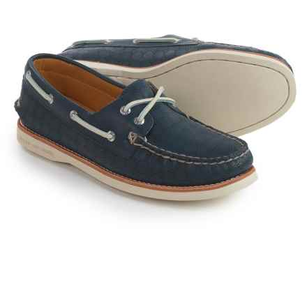 Sperry Gold Cup A/O Honeycomb Boat Shoes - Leather (For Women) in Navy - Closeouts