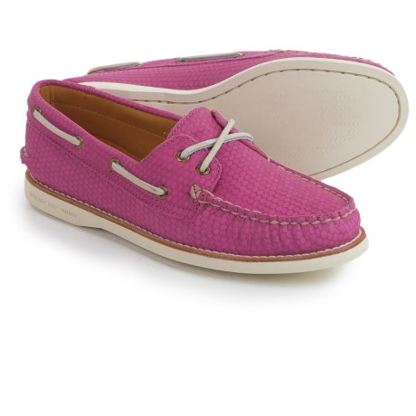Sperry Gold Cup A/O Honeycomb Boat Shoes - Leather (For Women) in Pink