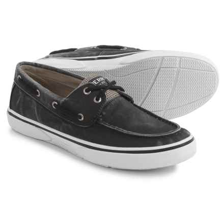 Sperry Halyard 2-Eye SW Boat Shoes (For Men) in Black - Closeouts
