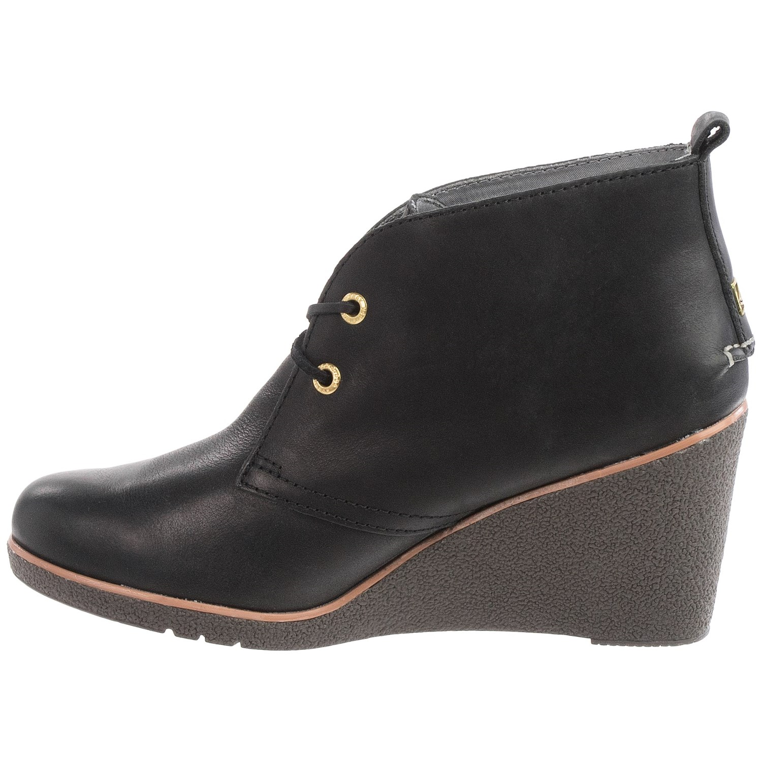 sperry harlow burnished leather wedge boots for