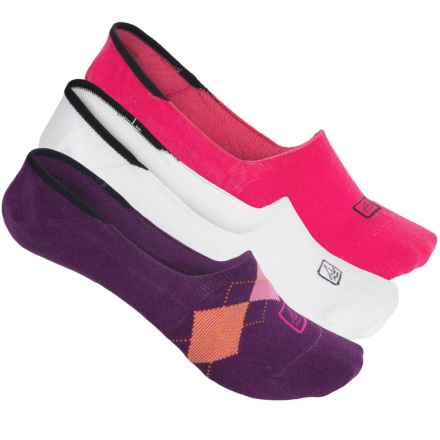 Sperry High-Cut Argyle Liner Socks - 3-Pack, No Show (For Women) in Purple Magic - Closeouts