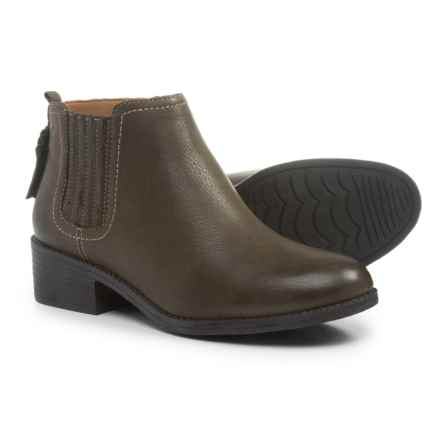Sperry Juniper Bree Ankle Boots - Leather, Slip-Ons (For Women) in Dark Olive - Closeouts