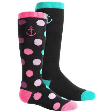 Sperry Knee-High Socks - 2-Pack, Over the Calf (For Little Girls) in Black - Closeouts