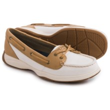 Sperry Laguna Moc-Toe Boat Shoes - Canvas and Leather (For Women) in White/Linen - Closeouts