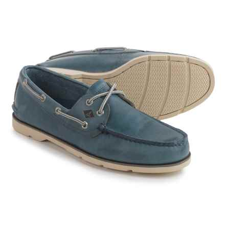 Sperry Leeward 2-Eye Boat Shoes - Leather (For Men) in Blue - Closeouts