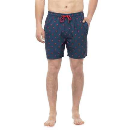 Sperry Palms Swim Trunks - Built-In Briefs (For Men) in Navy - Closeouts