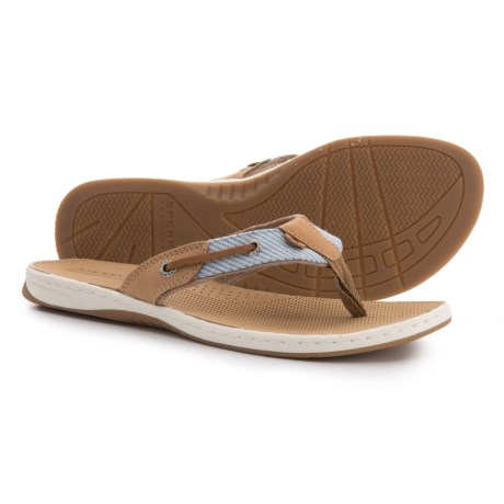 Sperry Seafish Thong Sandals (For Women) in Linen/Blue