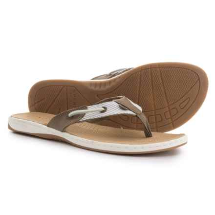 Sperry Seafish Thong Sandals (For Women) in Taupe/White - Closeouts