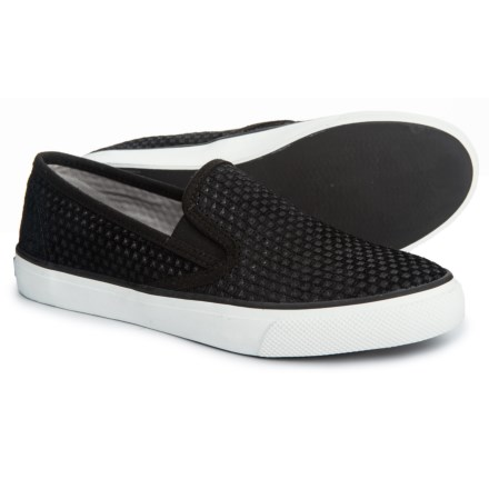 62e3ef813c Sperry Seaside Embossed Casual Shoes - Slip-Ons (For Women) in Black Suede