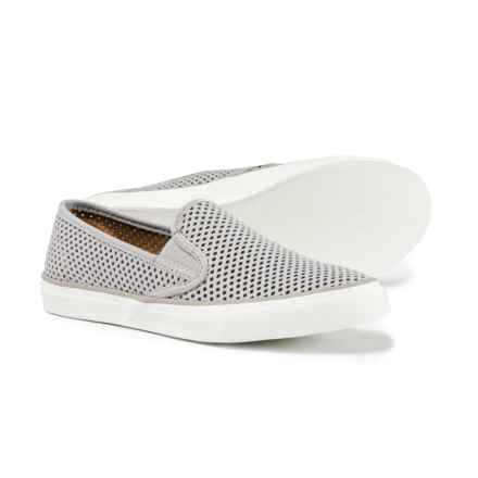 Sperry Seaside Perforated Sneakers - Leather (For Women) in Grey - Closeouts