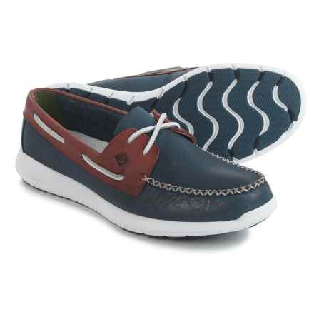 Sperry Sojourn Boat Shoes - Suede (For Men) in Navy/Red - Closeouts