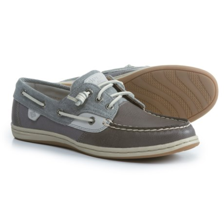 Sperry Songfish Waxy Canvas Boat Shoes (For Women) in Waxy Canvas Grey