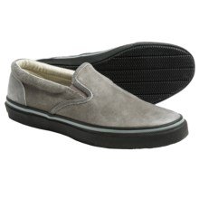 Sperry Striper Leather Sneakers - Slip-Ons (For Men) in Grey - Closeouts