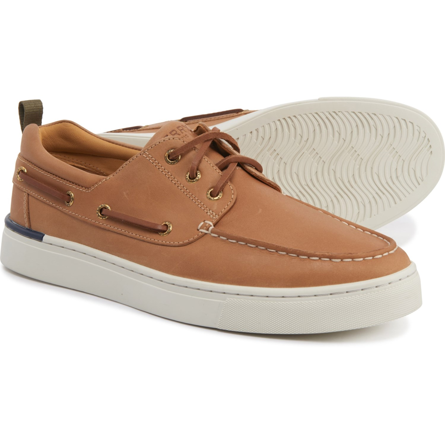 NEW SPERRY GOLD 2 EYE A//O DARK TAN MENS BOAT SHOE GOLD CUP 8 8.5 FREE SHIP