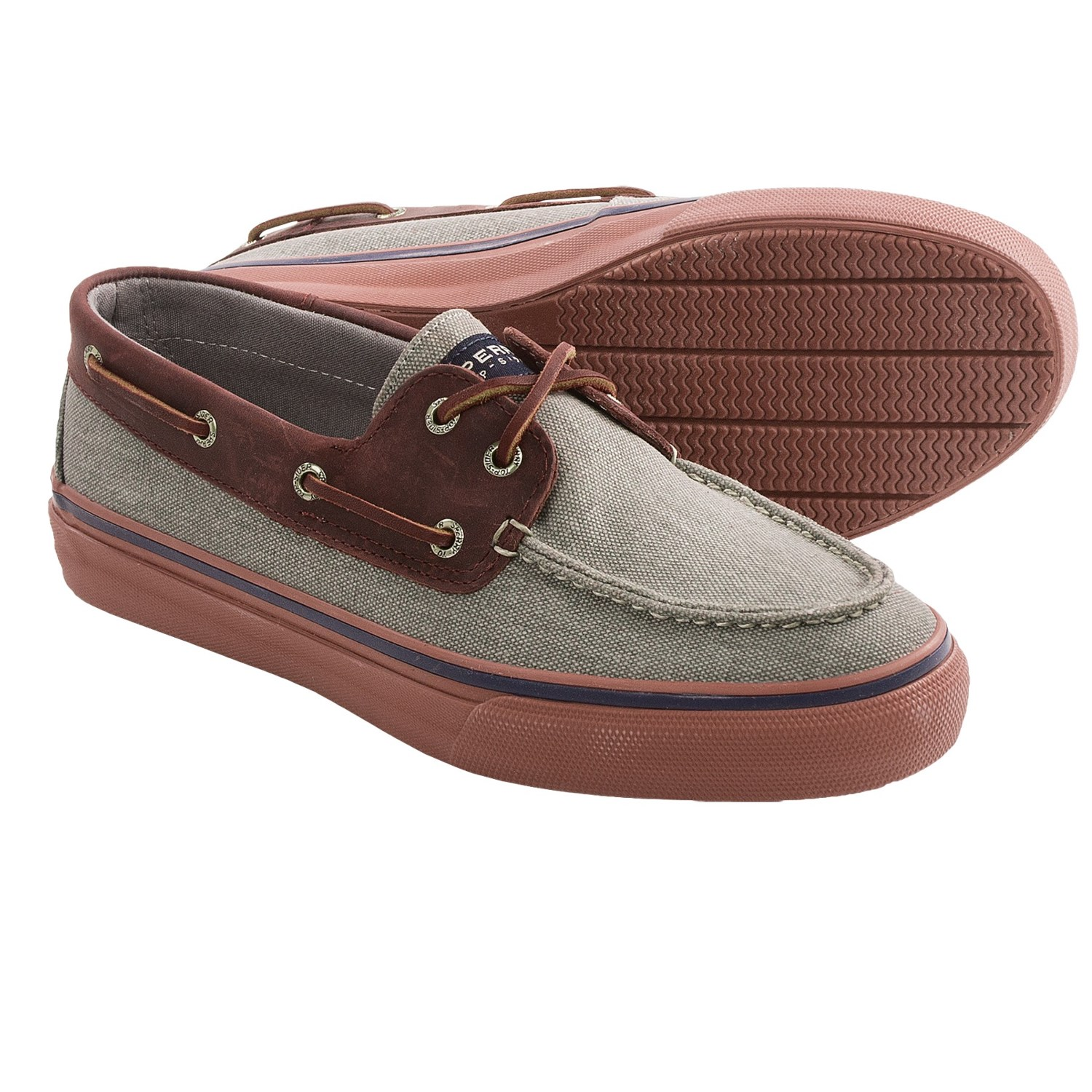 sperry top sider bahama boat shoes canvas leather for