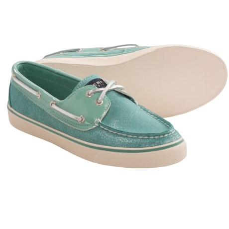Sperry Top Sider Bahama Boat Shoes For Women In Turquoise Sparkle
