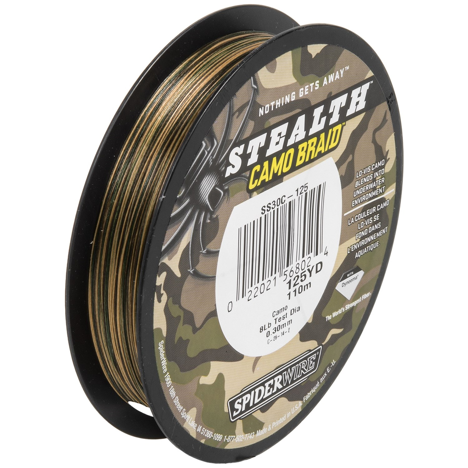 Spiderwire stealth camo braid fishing line 125 yds for Braid fishing line