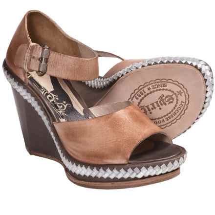 Spirit by Lucchese Chloe Wedge Sandals - Leather (For Women) in Silver - Closeouts