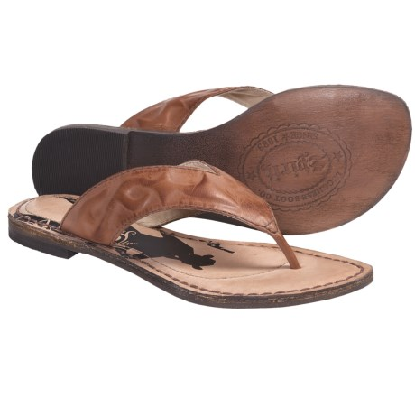 Spirit by Lucchese Sasha Sandals - Flip-Flops, Leather (For Women) in Black