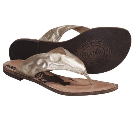 Spirit by Lucchese Sasha Sandals - Flip-Flops, Leather (For Women) in Gold