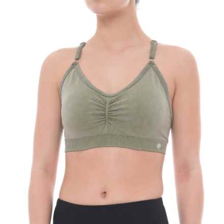 Splendid Distressed Seamless Sports Bra - T-Back, Removable Cups (For Women) in Beetle - Closeouts