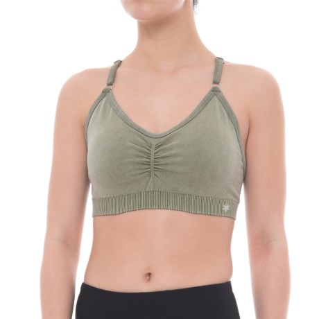 Splendid Distressed Seamless Sports Bra - T-Back, Removable Cups (For Women) in Beetle