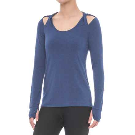 Splendid Hooded Twist Shoulder Tunic Shirt - Long Sleeve (For Women) in Marled Harbour Blue - Closeouts