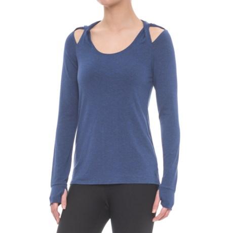 Splendid Hooded Twist Shoulder Tunic Shirt - Long Sleeve (For Women) in Marled Harbour Blue