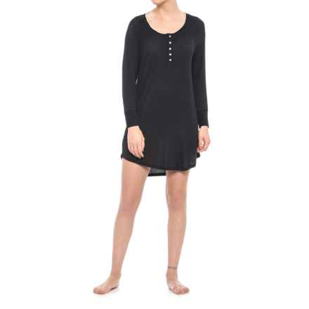 Splendid Jersey Henley Nightshirt - Long Sleeve (For Women) in Black - Closeouts